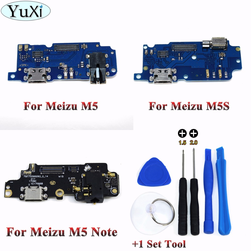YuXi Many IN Stock For Meizu M5 M5S M5 Note USB Module Plug Charge Board+Microphone Module Flex Cable Dock Connector+1Set Tool