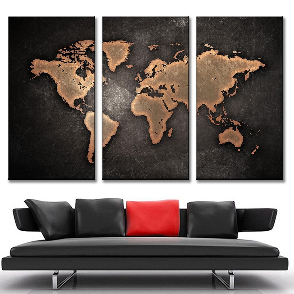 Buy 3 pcs set hot black world map for Buy canvas wall art