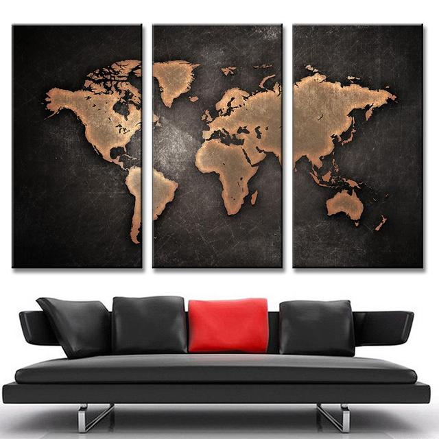 3 pcsset hot black world map paintings print on canvas hd abstract 3 pcsset hot black world map paintings print on canvas hd abstract world map gumiabroncs Images