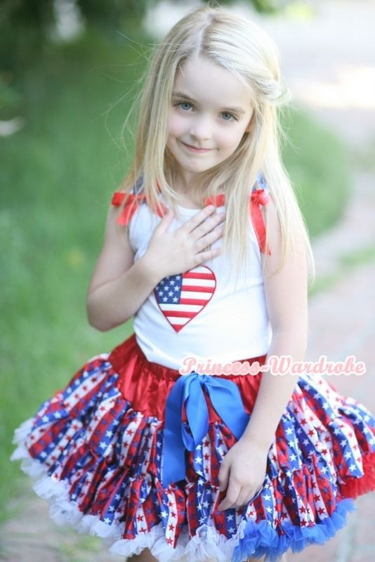 4th July America Stripes Stars Pettiskirt USA Flag Heart White Tank Top 1-8Year MAMG1145 4th july america flag style stripe pettiskirt white ruffle tank top 2pc set 1 8year mamg1143