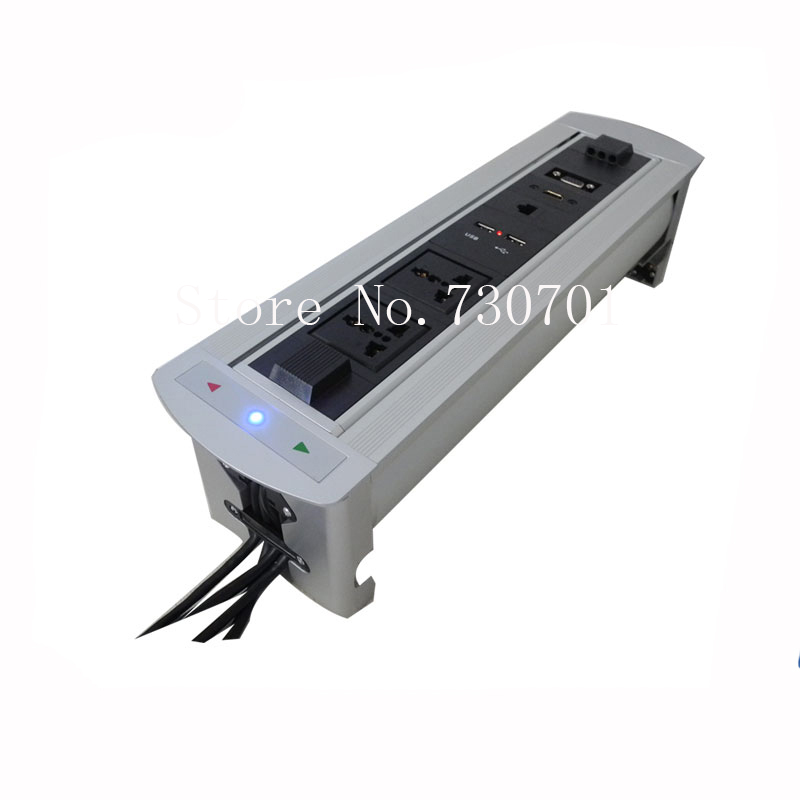 цена на 2018 Tabletop Motorized conference furniture socket / Desktop Hidden Power Outlets for Conference Furniture long option