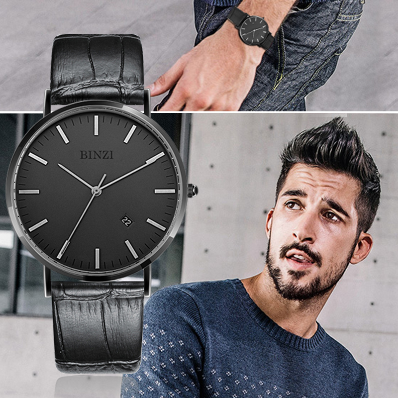 2017 New BINZI New Quartz Mens Watches Ultrathin Black Men Watch Calendar Pure Colors Simple Grace Waterproof Relogio Masculino ...