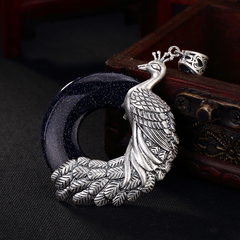 2018 New Arrival Promotion Malachite S990 Pure Peacock Mosaic, Buckle Sterling Long Sweater Chain Female Pendant Wholesale 2018 top fashion sale agate s990 peacock peacock cloud chalcedony agate long silver chain sweater pendant wholesale