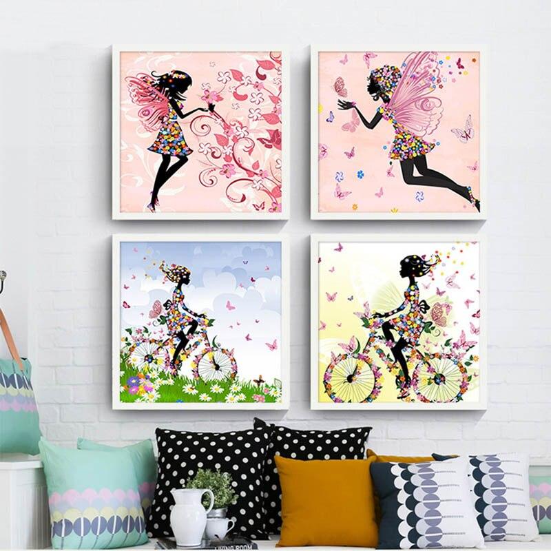 456 40 De Réductionnordique Moderne Simple Rose Dessin Animé Une Fée De Fleur Sur Un Vélo Couleur Papillon Enfants Chambre Salon Suspendu Peinture
