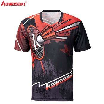 KAWASAKI mężczyźni Badminton tenis koszulki z krótkim rękawem szybkie suche 100 poliester odzież sportowa dla Fitness Gym ubrania ST-S1105 tanie i dobre opinie V-neck Oddychające Pasuje prawda na wymiar weź swój normalny rozmiar Gray Red 100 Polyester M~4XL Sportswear Short-sleeved Shirt