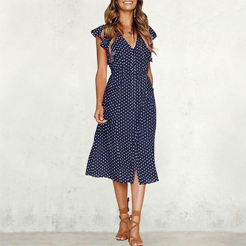 2019 Smmer polka dot dress for women office midi dress vintage cute dress ruffle sleeve vestidos de fiesta de noche C0367