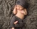 Бесплатная доставка Детские Фото Опора, новорожденных Шапочки Hat И Брюки младенца вязания крючком Набор 0-3monthes