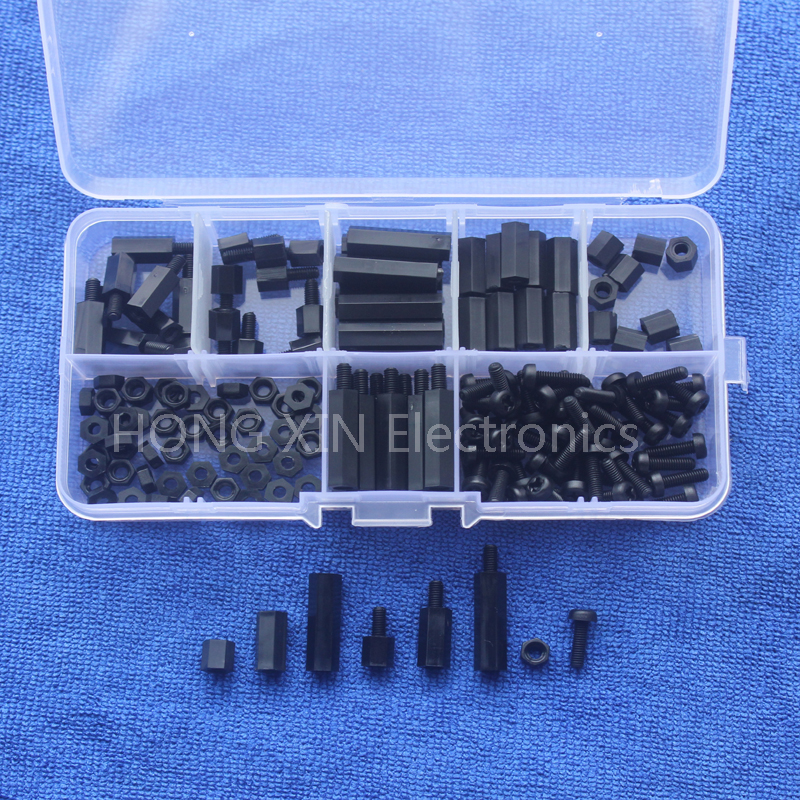 160Pcs M3 Nylon Black M-F Hex Spacers Screw Nut Assortment Kit Stand off Set Box 150pcs m3 white hex spacers nylon screw nut washer assortment standoff kit stand off plastic