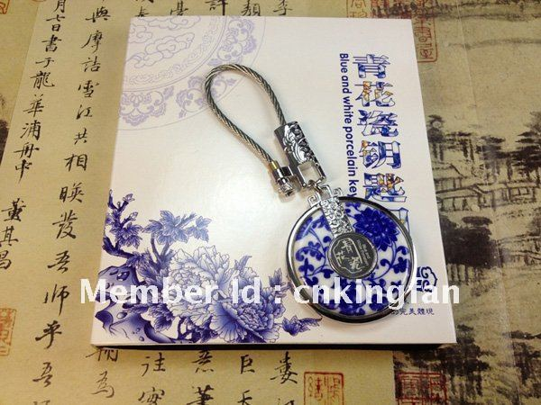 ceramic key charins / suitable for men / drivers key chain gifts / promotion item / gift item / blue and white porcelain