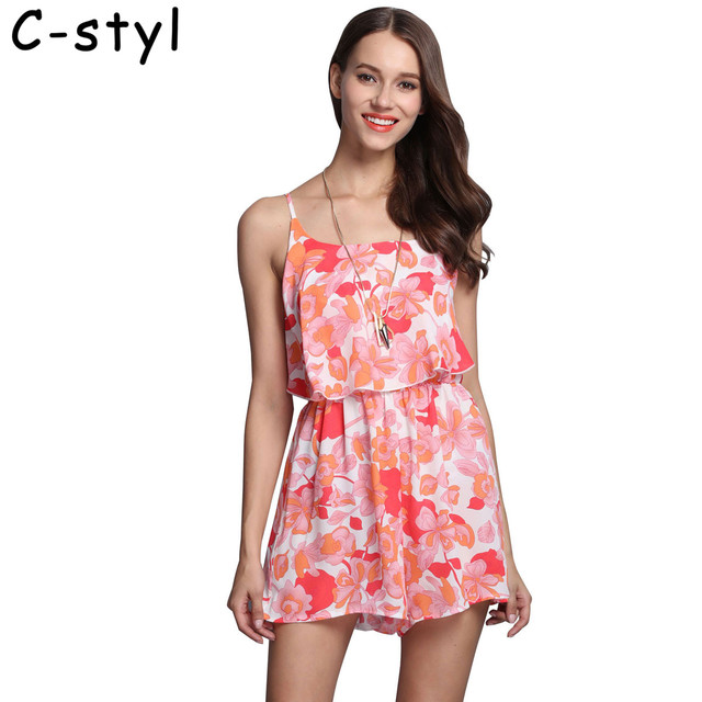 37e8b30ff1ea Women Rompers print boho maxi Jumpsuit Summer Short Chiffon loose jumpsuit  Female chest wrapped strapless Playsuit bodysuit