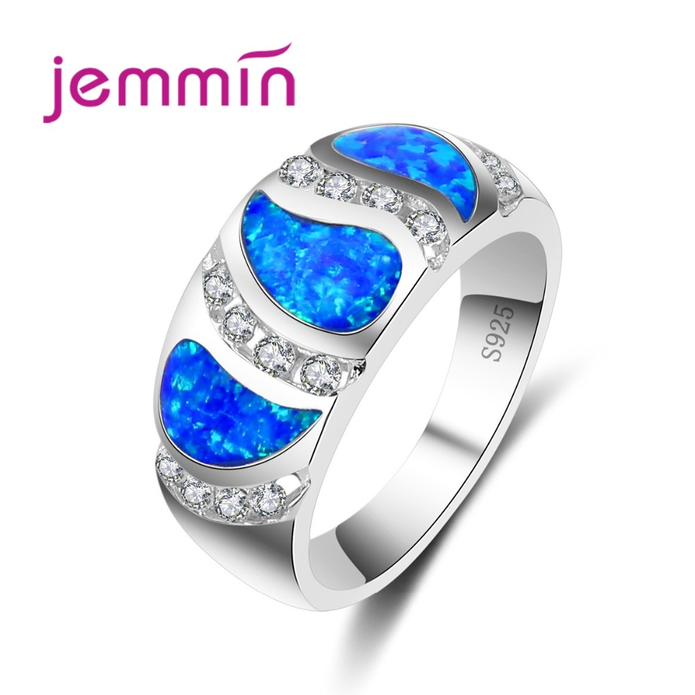 Tears Pattern 925 Sterling Silver Rings For Women Wedding Jewerly With Rhinestone Blue Fire Opal Ring Gift Fine Jewelry