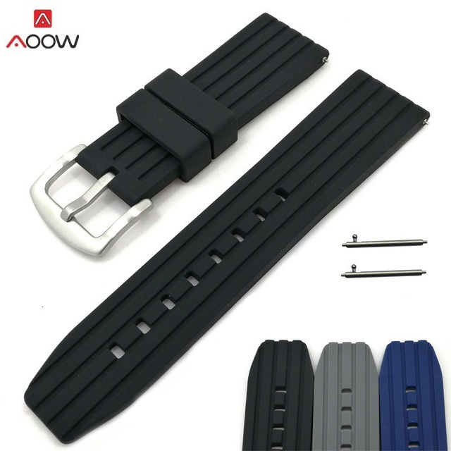 AOOW 3 Colors Generic Watchband 20mm 22mm 24mm Silicone Rubber Watch Strap Bands