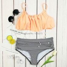 Summer push up new bikini sexy Lotus leaf edge swimsuit bathing suit women high waist swiming suits Halter Top swimwear D0129