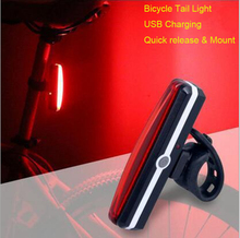 Фотография Bicycle light USB Rechargeable Tail Light Bike Cycling Rear Lamp Taillight COB LED Rain Water Proof 6 Modes with 26pcs LED chips