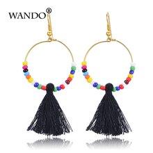 WANDO Bohemia Black Beaded Tassel Earrings Paved Ball Drop Long Earring Woman Party Tassel Earring Statement jewelry gift e47