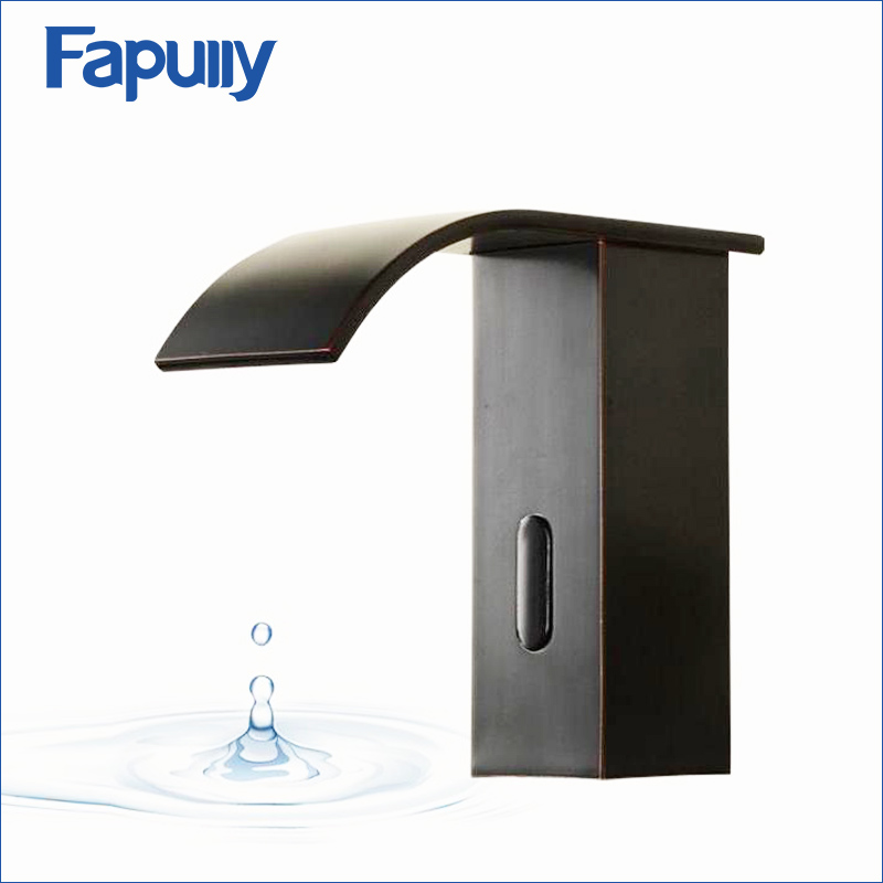 Fapully Bathroom Waterfall Basin Faucet Deck Mounted Automatic Hands Touch Sensor Water Faucet Waterfall Sink Tap infos bathroom led waterfall water tap
