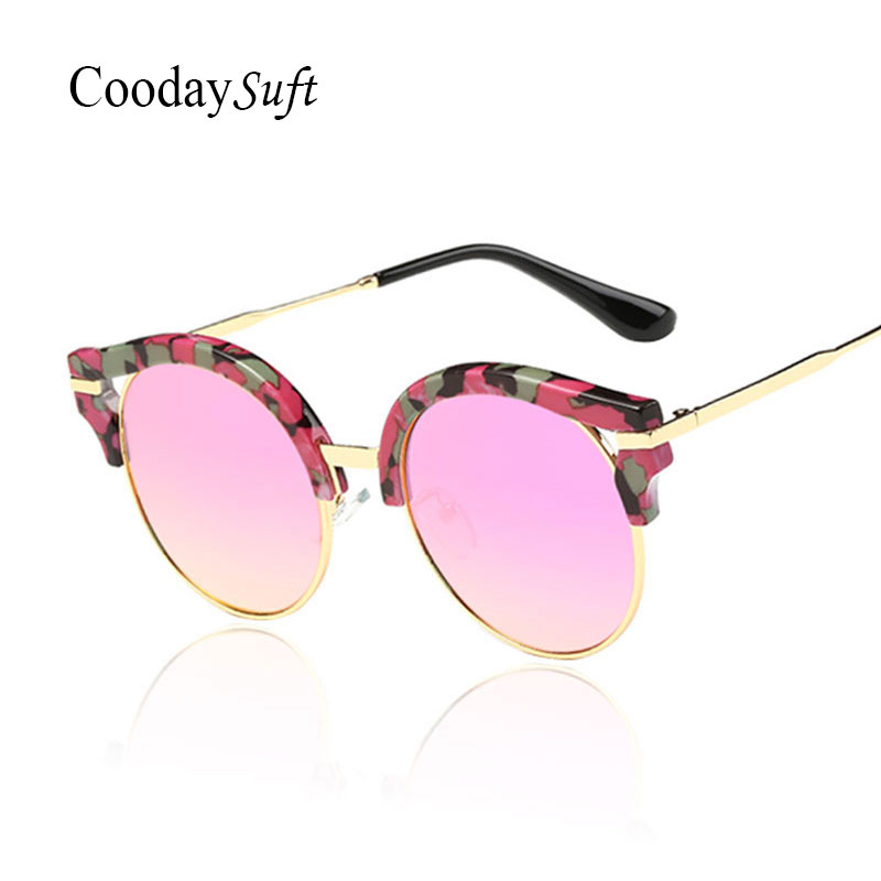 Round Flower Frame Mirror Fashion Sunglasses Women Trend Cateye Brazi Vintage Shades Retro Cateye Sun Glasses
