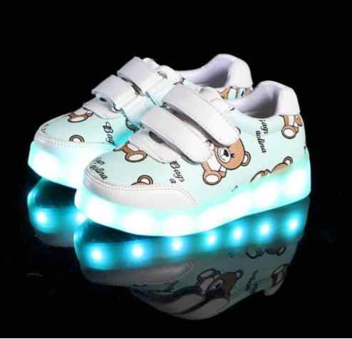 Kids Glowing Luminous Sneakers For Girls USB Charging Basket Led Toddler Children Shoes With Light Up Casual Boys lighting sole