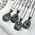 Sweater chain winter long Necklace fashion jewelry charm female Trendy big Rhinestone pendant Water Drop Necklaces women