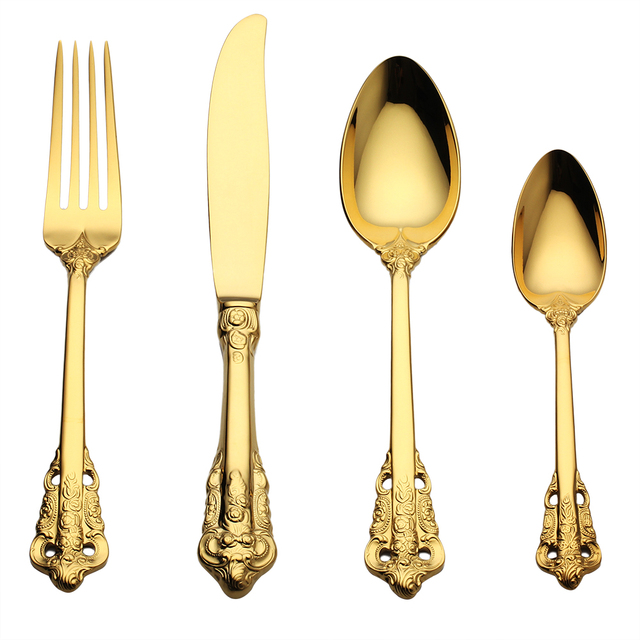 Lekoch 4Pc/set Luxury Golden Cutlery Set Gold Plated Stainless steel Dinnerware Dinner Fork Scoop  sc 1 st  AliExpress.com : gold tableware - pezcame.com