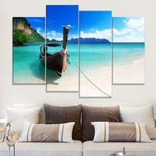 Blue Water Tapes Boat Mooring Coast Painting 4 Piece Style Landscape Picture Canvas Print Type Home Decor Wall Modern Artwork modern decor wall artwork natural landscape picture 1 piece sea coast tropical paradise beach ocean island boat canvas poster