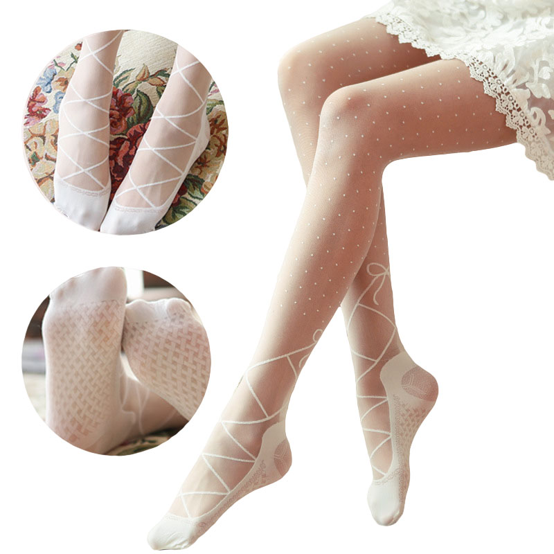 Hot Japanese Kawaii Lolita Tights Girl Lace Pantyhose In A Grid Dots Calze A Rete Women Medias Transparent Stockings White/Black