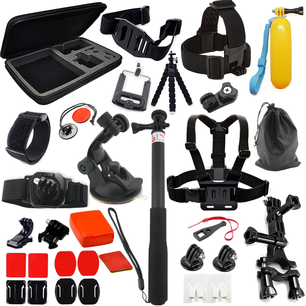 37in one Gopro Accessories Set Helmet Harness Chest Belt Head Mount Strap Monopod Go pro hero 5 4 3+3 xiaomi yi go pro kit mount