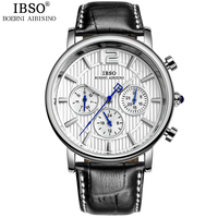 IBSO Brand High Quality Fashion Watch Men Genuine Leather Strap Calendar Multifunction Display Mens Watches Relogio