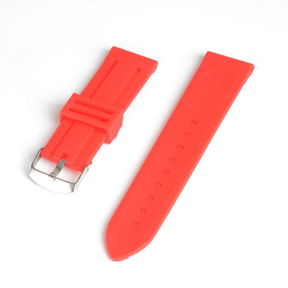 20mm Red Silicone Watch Band Strap Pink Buckle Design Men Women Sports Watchband for Kid Children Gift SB0480