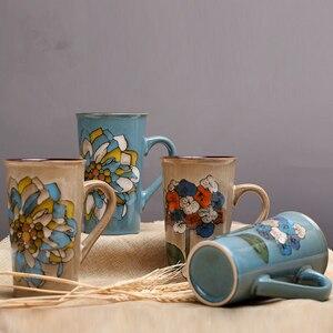Image 4 - 손으로 그린 세라믹 컵 큰 머그잔 복고풍 커피 식기 개성 커플 창의력의 전체