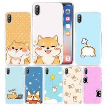 Lucu Case untuk iPhone X Max XR X 10 7 7S 8 6 6S PLUS 5S SE 5 4S 4 5C 11 Jelas Hard Plastik Phone Cover Coque Kucing Corgi Anjing Kawai(China)