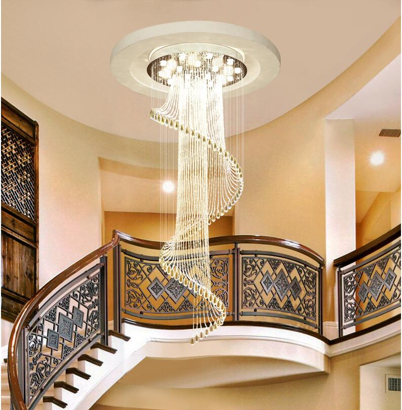 Luxury Villa Rotating Staircase Long Chandelier Modern Simple   Staircase Design For Duplex   Unique   Wood   Space   False Ceiling   Contemporary