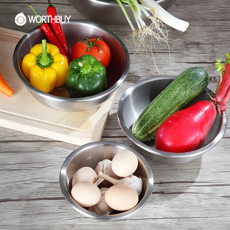 WORTHBUY 1 Pcs 304 Stainless Steel Bowl Chinese Fruit Vegetable Food Bowl Kitchen Cooking Accessories For Baking Egg Mixing Bowl