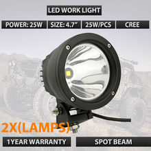 "2×9151069 Visión X Iluminación 25 W 4.7 ""pulgadas de Cañón Exterior LED Luz de conducción Negro 9-32 V 25 W 10 Grados de la MAZORCA led de trabajo luz"