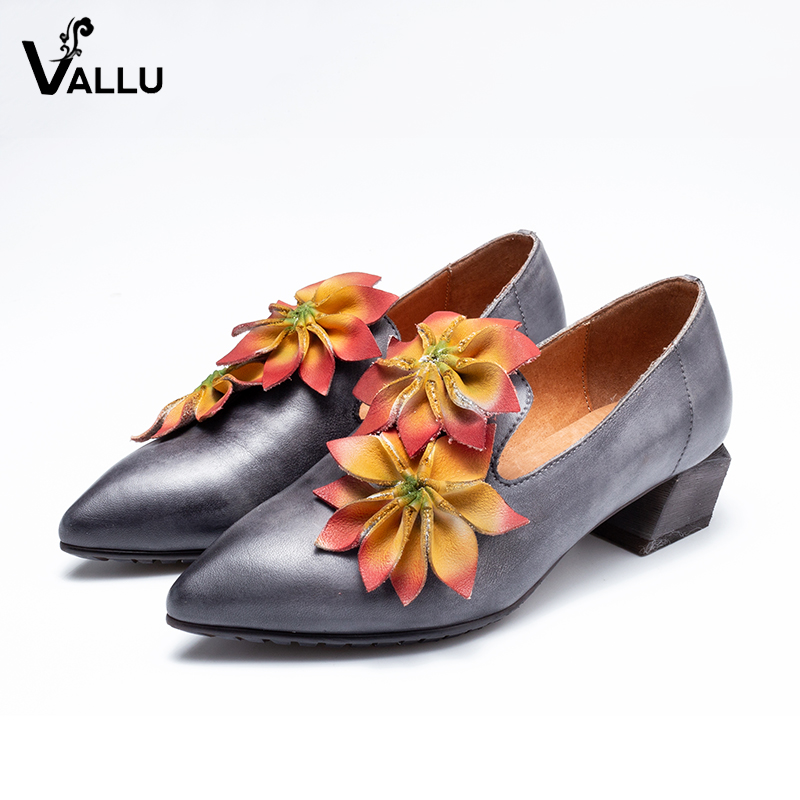 Pointed Toe Heeled Shoes Woman Handmade Floral Elegant Pumps For Lady  Genuine Leather Vintage New Design 180306e3bc62