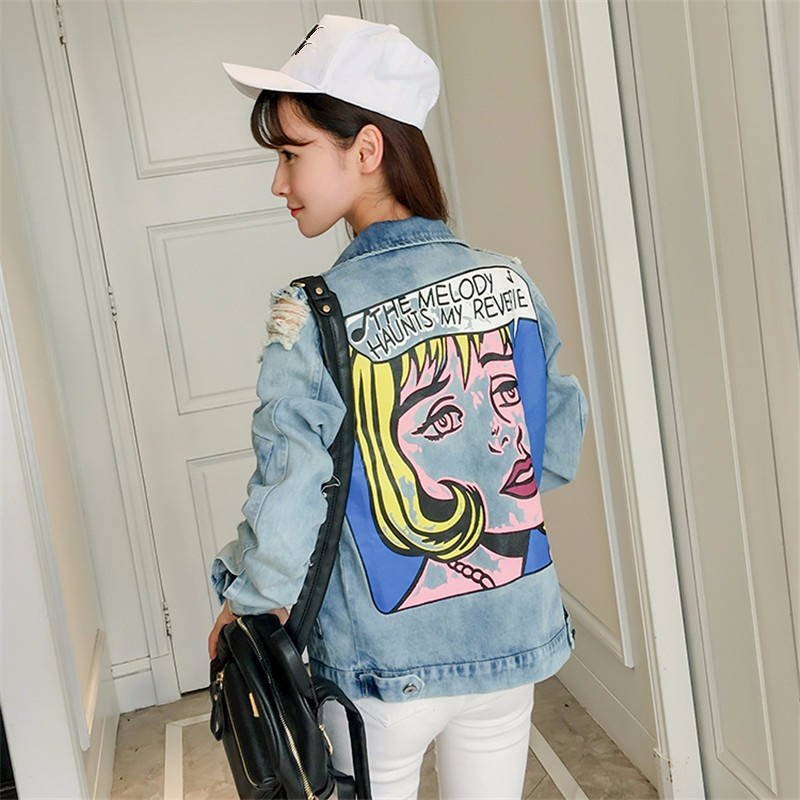 2017 New Autumn Women Printing Loose Denim   Jacket   Women Casual Long Sleeve Oversize   Basic     Jacket