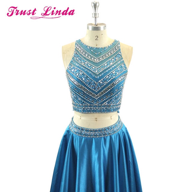 66c8461c84 Crystal Beadings Two Piece Set Prom Gown Floor Length Sparkly Teal Blue  Long Dress for Wedding Party Graduation Homecoming