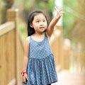 Летней девушки подтяжк платье 3 to7T дети платья для девочек марка синяя Точка дети летняя мода девушки платье ребенок дети топ