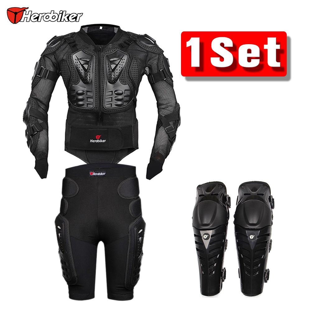 Herobiker Motorcycle Jacket Body Armor Protective Gears + Shorts Pants Hip Protector + Protective Motocross Knee Pad Kits Suits herobiker motorcycle body protection motocross racing full body armor gears short pants motocycle knee pad motorcycle armor