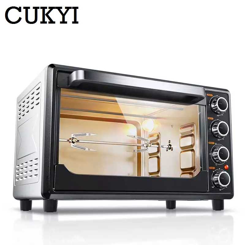 CUKYI Multifunction Household Oven 32L Big Capacity 1600W Strong Power 120min Timing Home Baking Machine 220V EU Plug