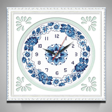 5D DIY Diamond Embroidery, Diamond Painting,Blue and White Porcelain Mosaic Wall Clock Needlework, Home Decoration