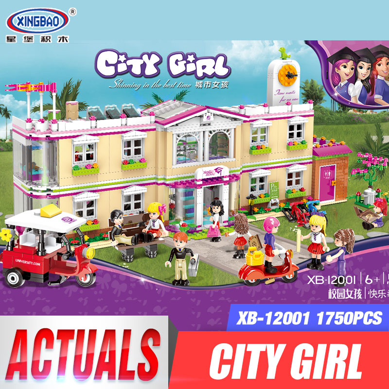 все цены на XINGBAO 12001 New 1750Pcs City Girl Series The Happy Teaching Building Set Building Blocks Bricks Funny Toys For Kids As Gifts