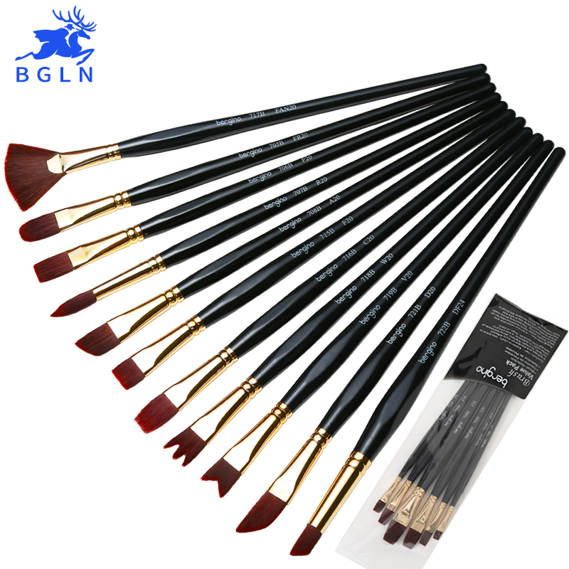 BGLN 6Pcs Super Quality Nylon Hair Painting Brushes Set Long Handle Oil/Acrylic Paint Brush For Artist pinceaux peinture 15 long art brush set nylon watercolor oil acrylic artist paint brushes come with long handle pop up stand