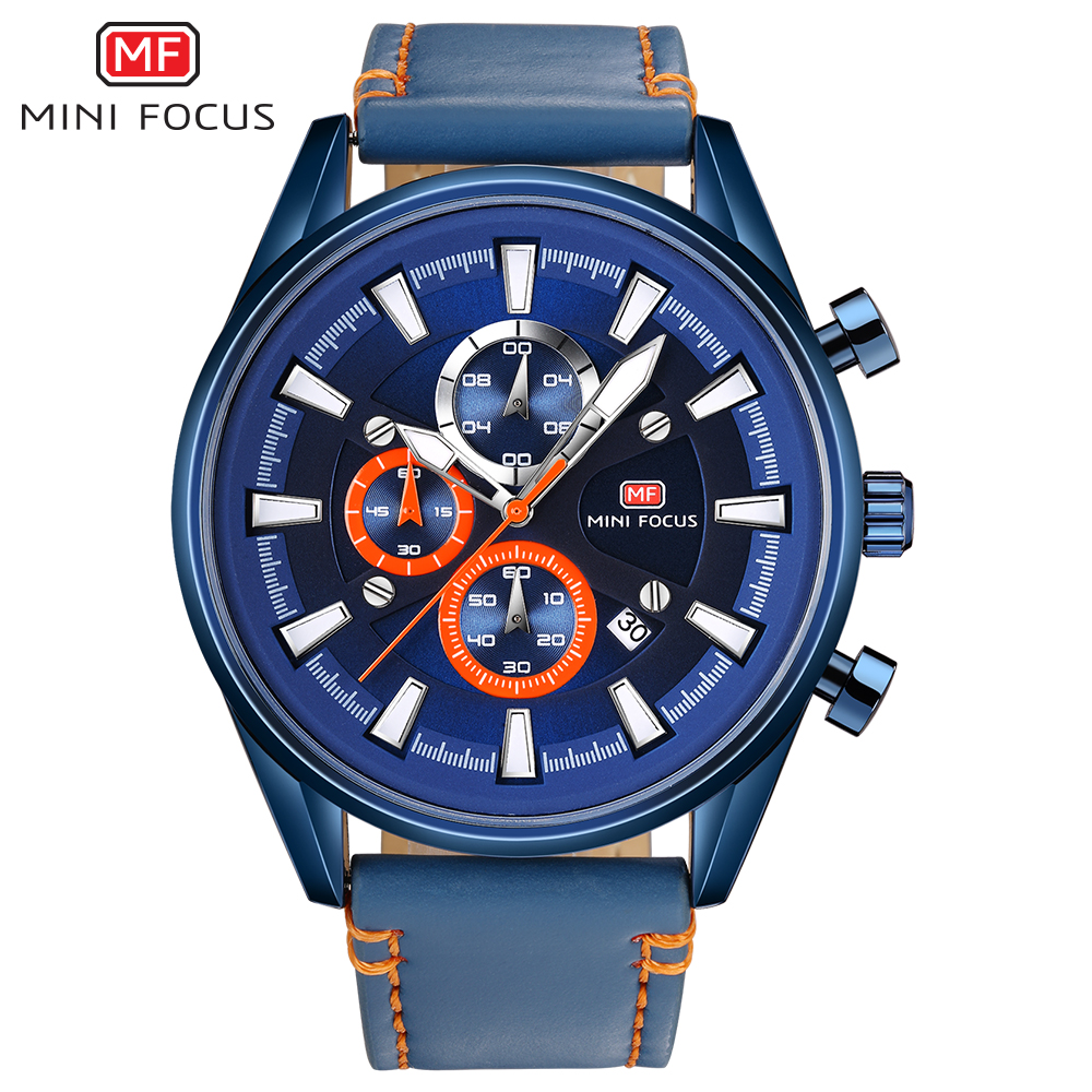 Men Watches MINI FOCUS Men Sport Watch Chronograph Leather Strap Quartz Military Big Dial Watches Clock Male Relogio Masculino skone big dial chronograph sport watches men quartz military wristwatch luxury brand outdoor casual leather strap watch clock