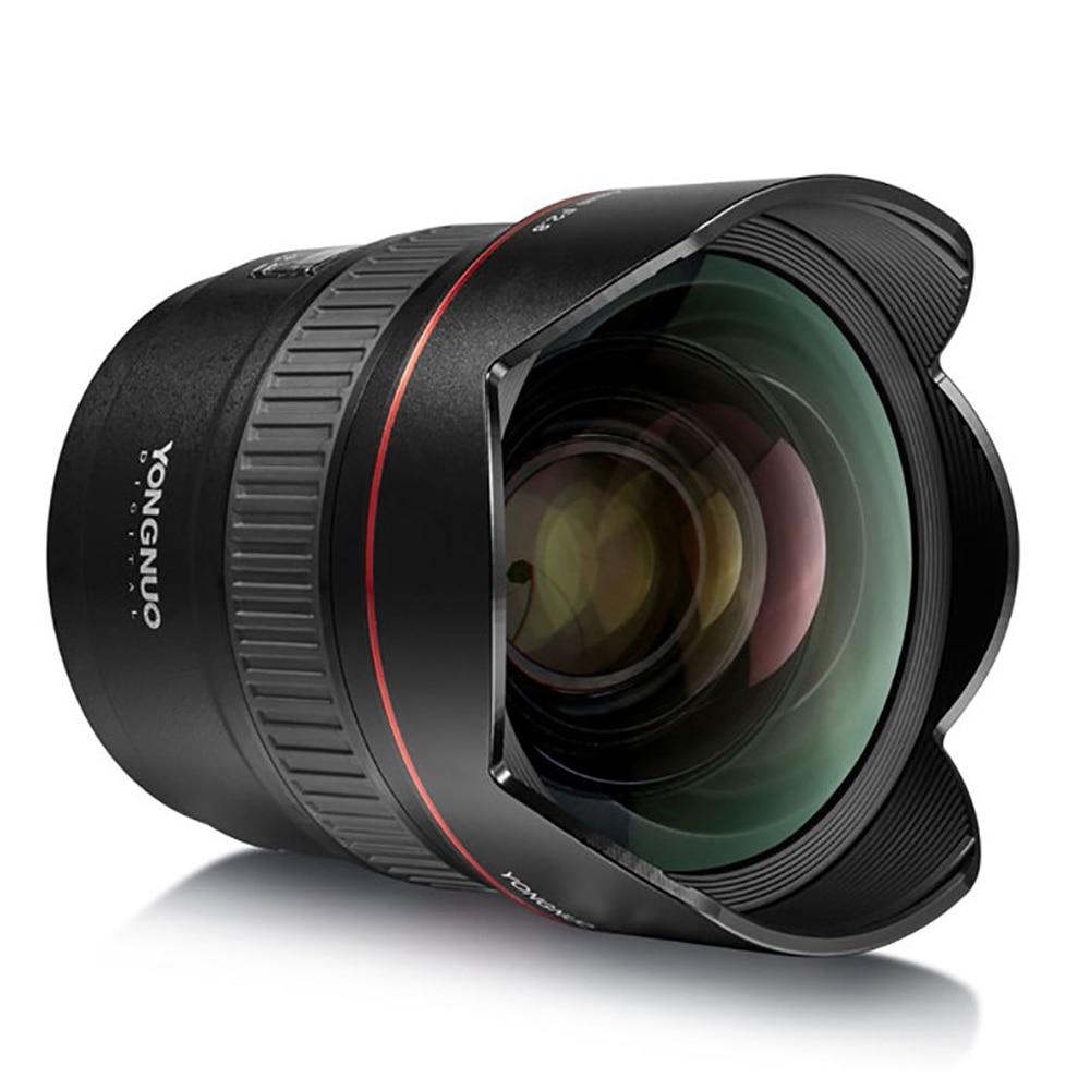 Yongnuo ultra-amplo ângulo prime lente yn14mm f2.8n foco automático metal montagem para nikon d7100 d5300 para canon 700d 80d 5d dslr câmeras
