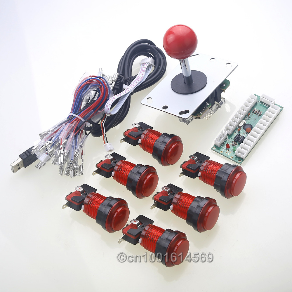 Arcade usb controller handle to pc joystick 5v 30mm led for Conectar botones arcade a raspberry pi 3