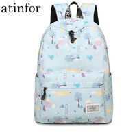 Fresh Lady Animal Tree Printing Waterproof Polyester Women Bag Casual School Backpacks for Teenage Teens Girls