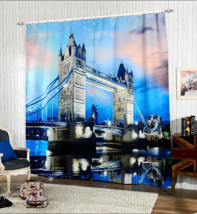 Estilo moderno London Bridge 3D Apagão Janela Cortinas Para sala de estar de Cama quarto de Hotel/Escritório Cortinas Cortinas