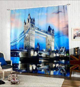 Modern Style London Bridge 3D Blackout Window Curtains For Living room Bedding room Hotel/Office Drapes Cortinas