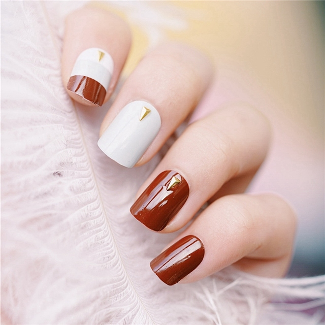 Coffe Brown French False Nail Light Gray White With Gold Revits Fake